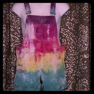 OOAK tie dyed shortalls